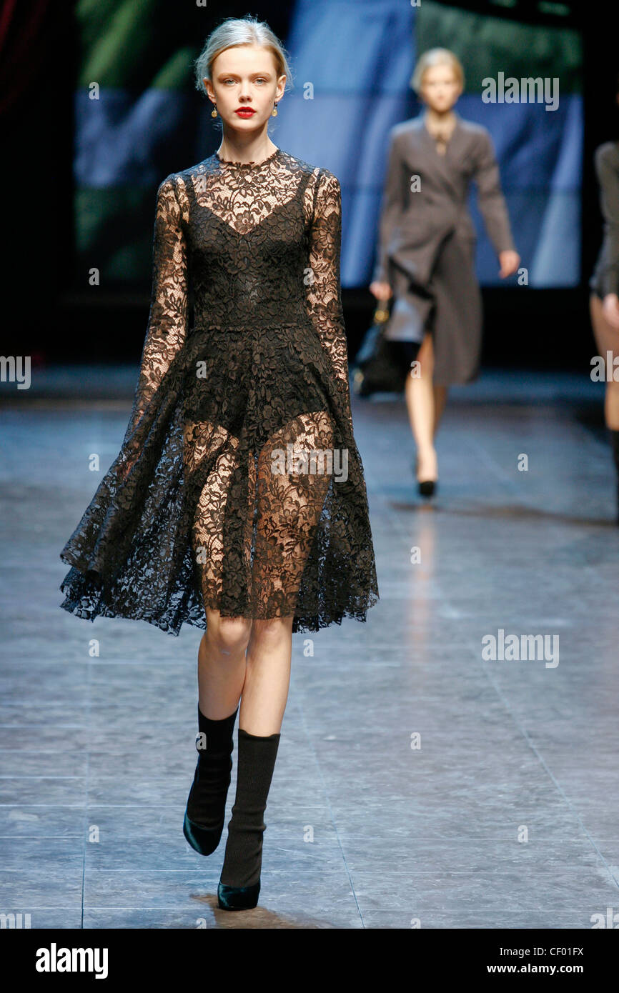 b9315356784 Dolce   Gabbana Milan Ready to Wear Autumn Winter Black lace knee length  dress a line skirt worn over black bodysuit