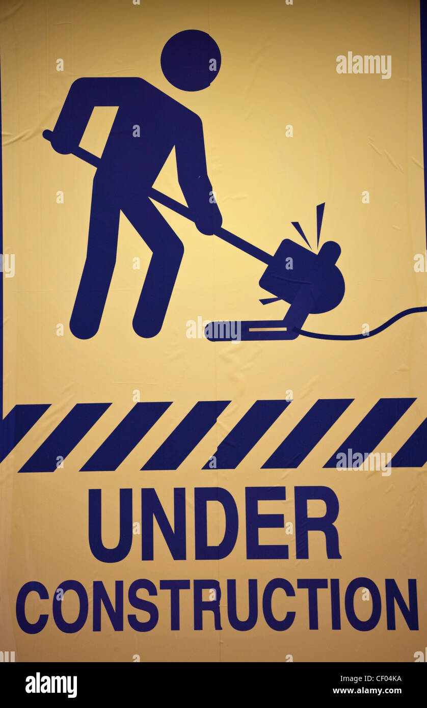 Under construction sign - seen in the work area Stock Photo