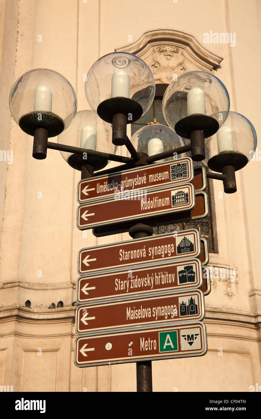 Prague - Tourist orientation place showing the city attractions - Stock Image