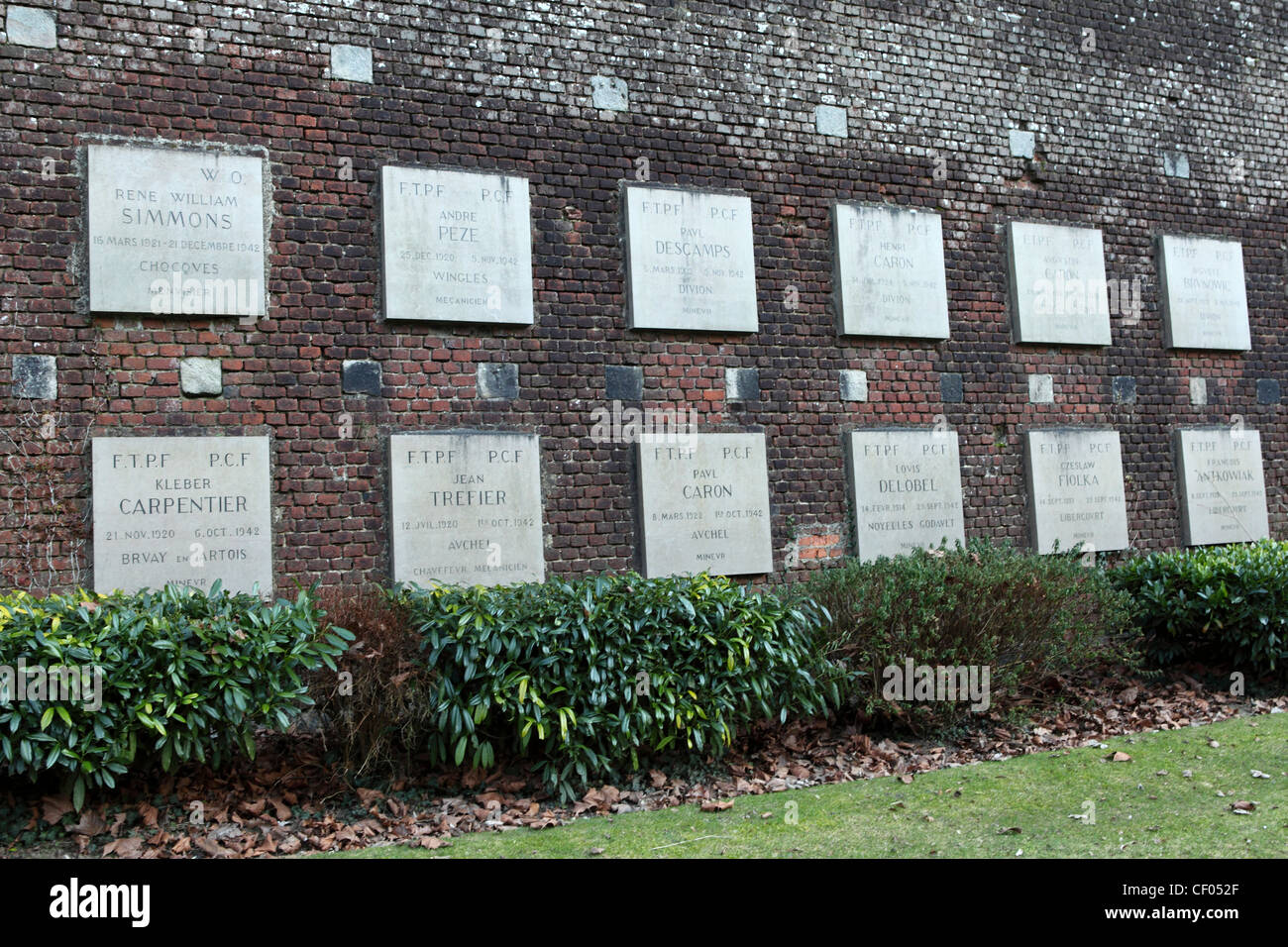 Plaques at the Resistance Memorial at the Citadel of Arras, France. - Stock Image