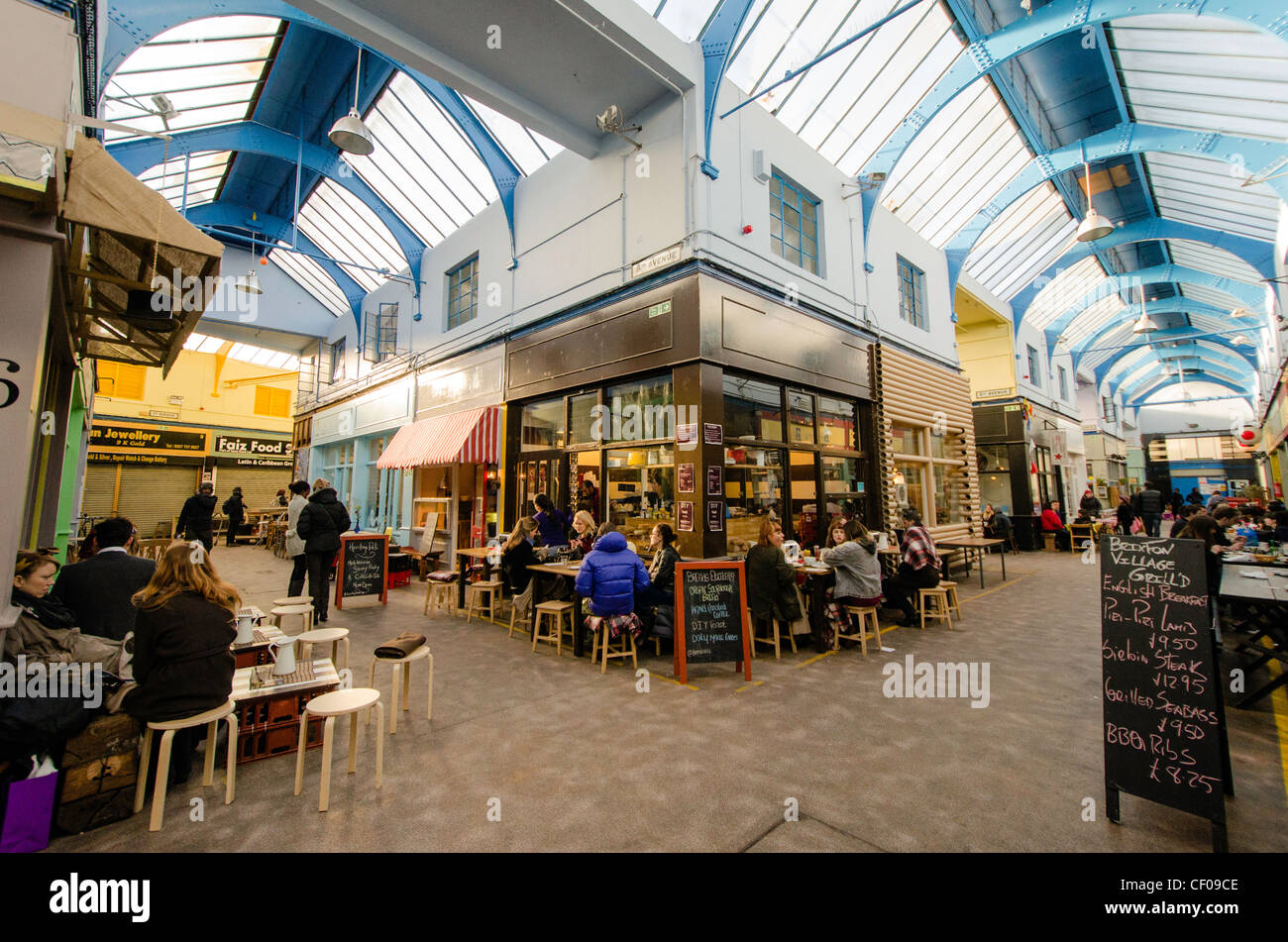 Granville Arcade Brixton Village newly renovated in Brixton indoor market South London England Great Britain UK - Stock Image