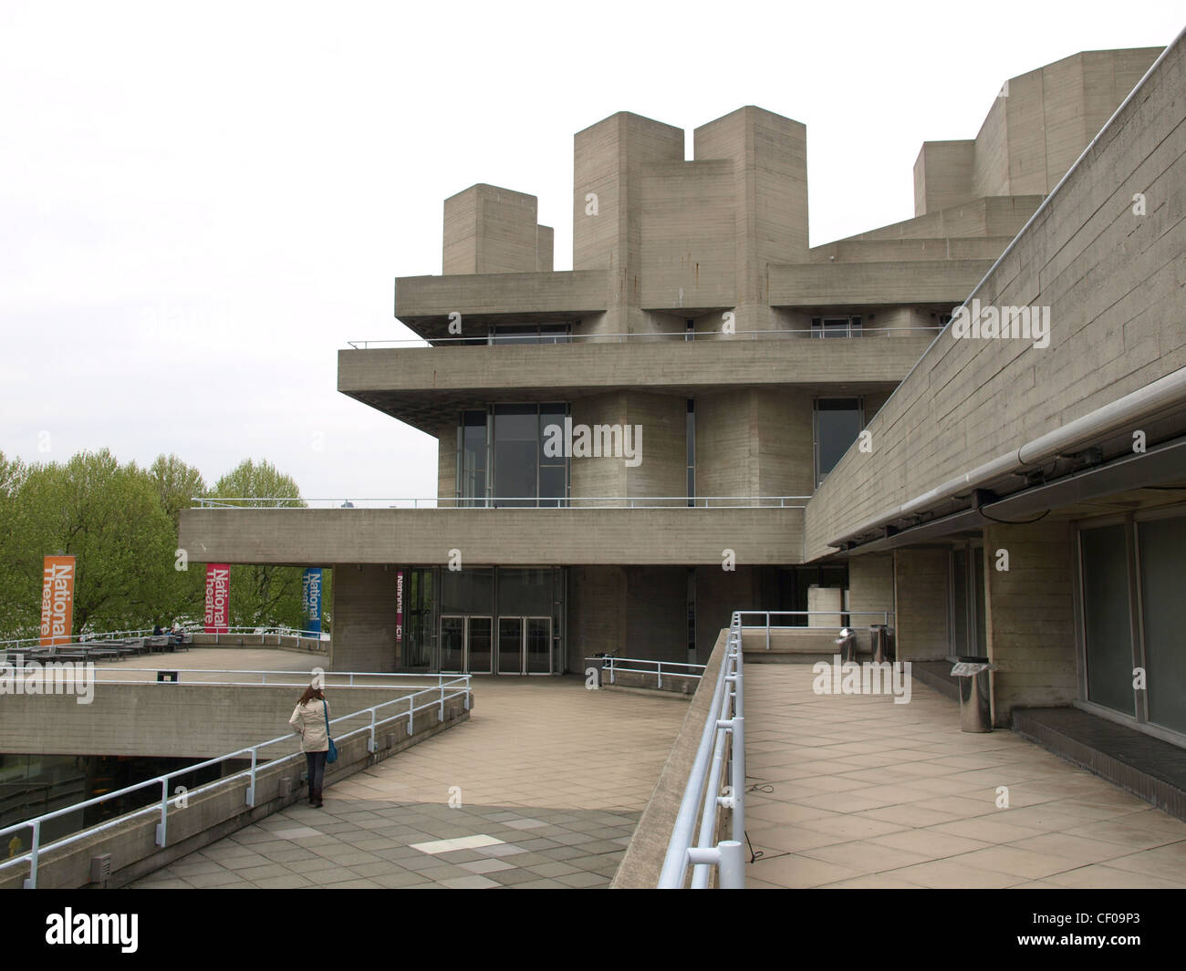 The National Theatre iconic new brutalist architecture in London, England, UK - Stock Image