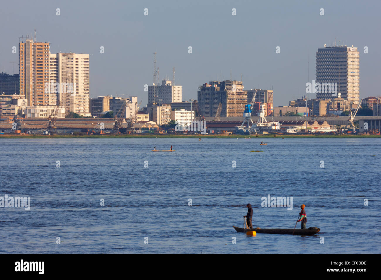 skyline of kinshasa  democratic republic of congo  africa boats victoria boat vector image