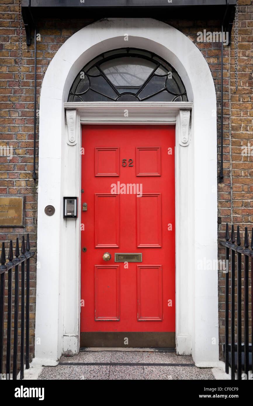 Red Victorian front door, London, England, Uk Stock Photo
