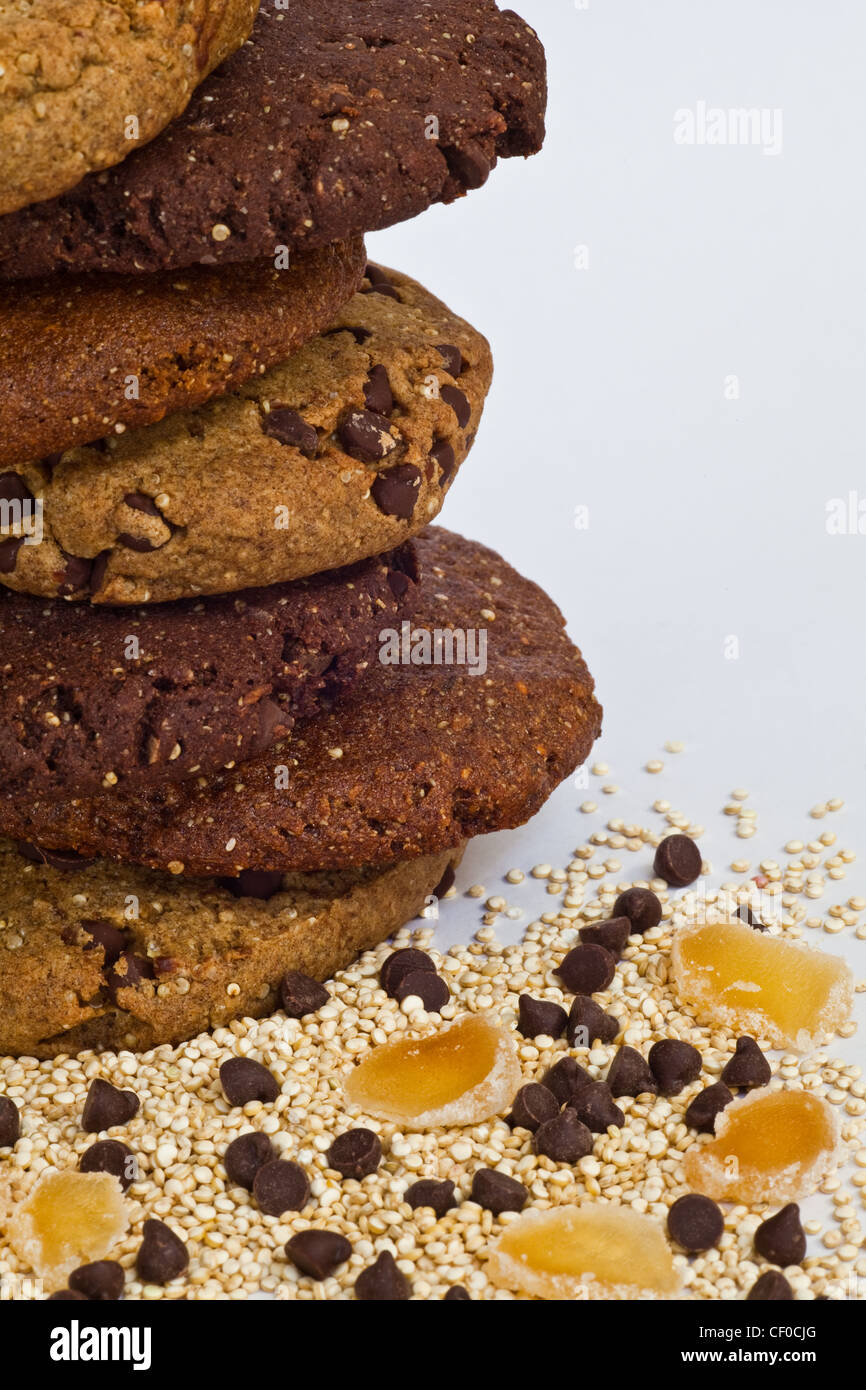 Abstract image of gluten-free cookies and Quinoa grains with other ingredients - Stock Image