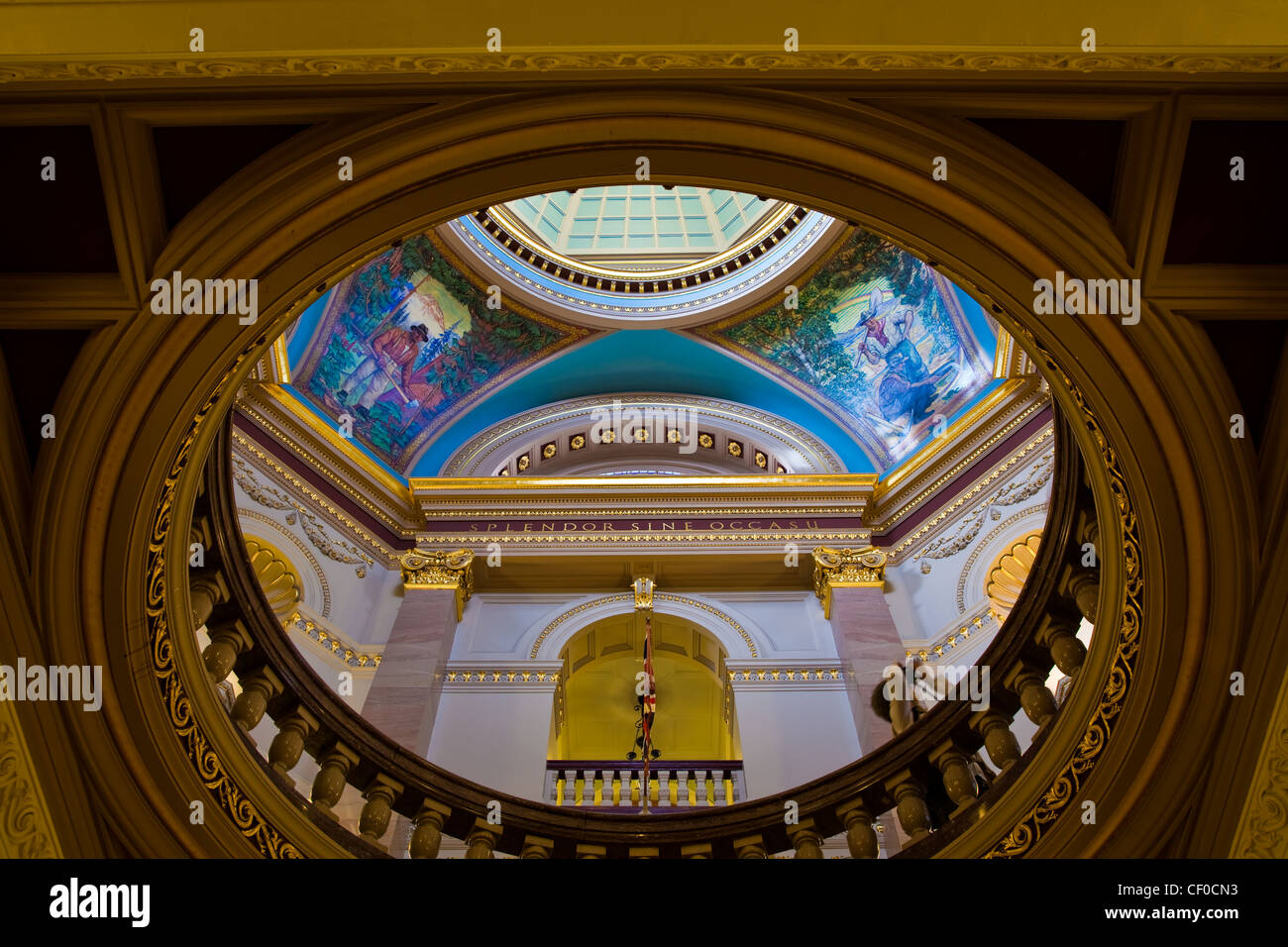 View up to the central rotunda of the British Columbia legislature building, Victoria, Canada Stock Photo