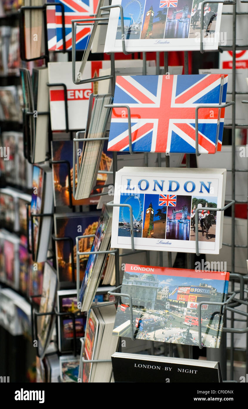 Close up of a rack of postcards of London - Stock Image