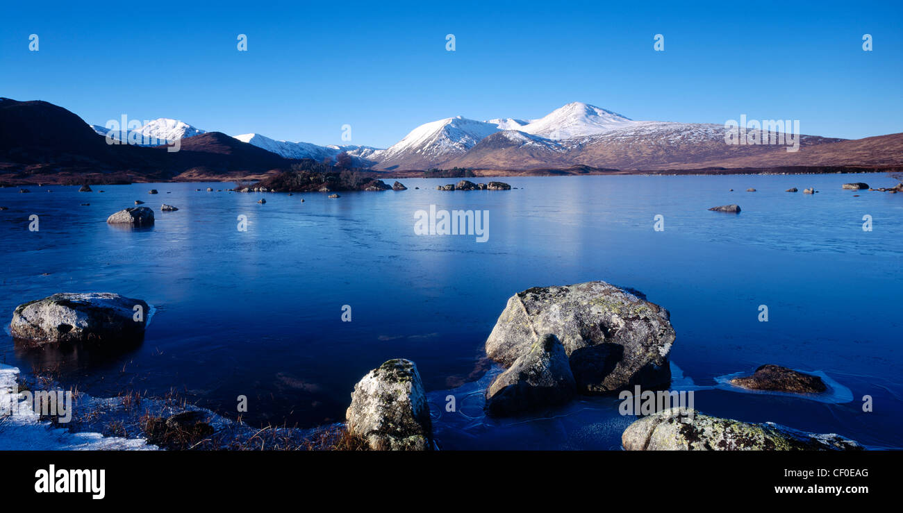 Lochan na h Achlaise and the Black Mount, Rannoch Moor, Lochaber, Highland, Scotland, UK - Stock Image