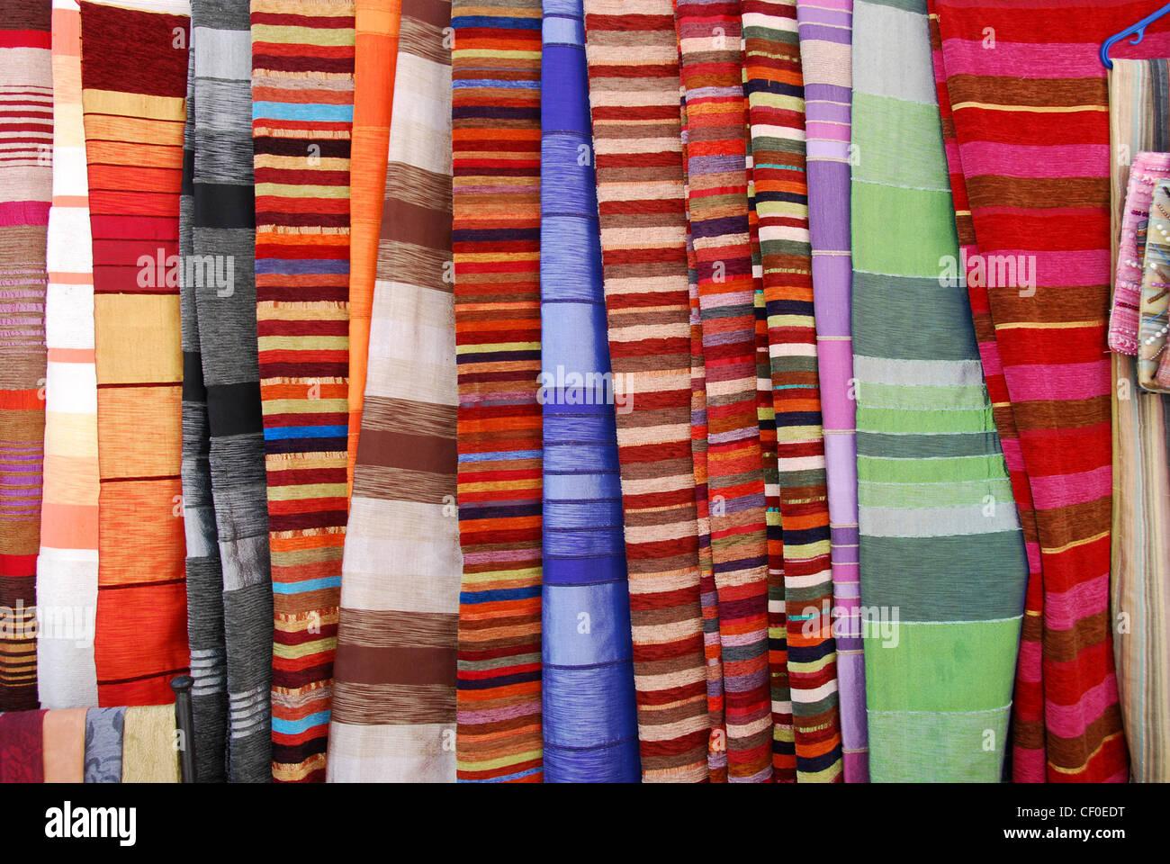 Coloured textiles, Essaouira, Morrocco, Africa - Stock Image