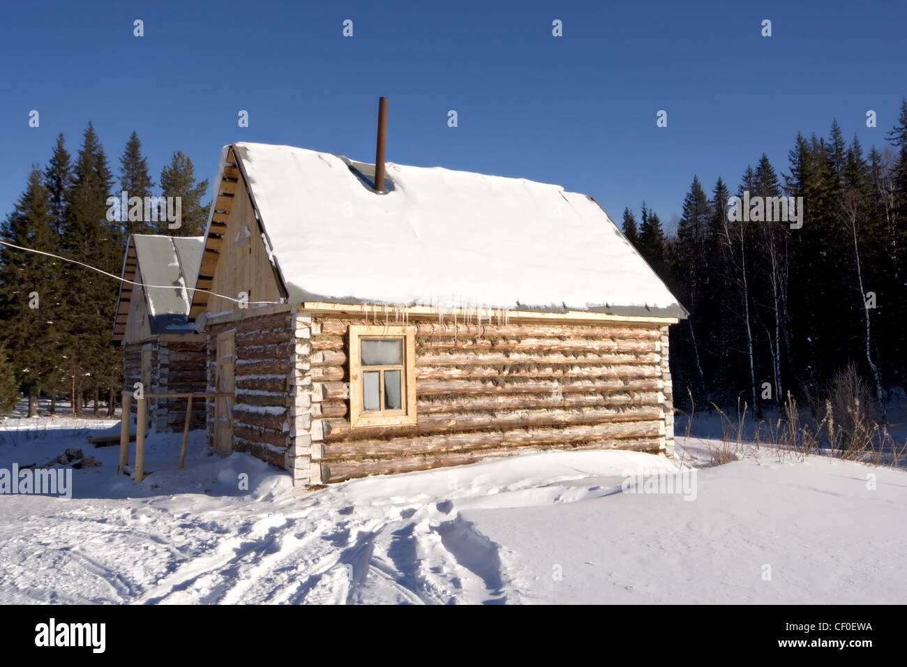 Cordon Kialimskiy. Winter huts for tourists in National park Taganay. South Ural mountains. Taiga. Russia. - Stock Image