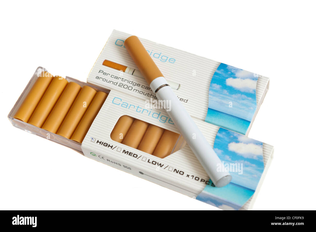 E Cigarette Electric Cigarette Kit Quitting Quit Smoking Nicotine Replacement - Stock Image
