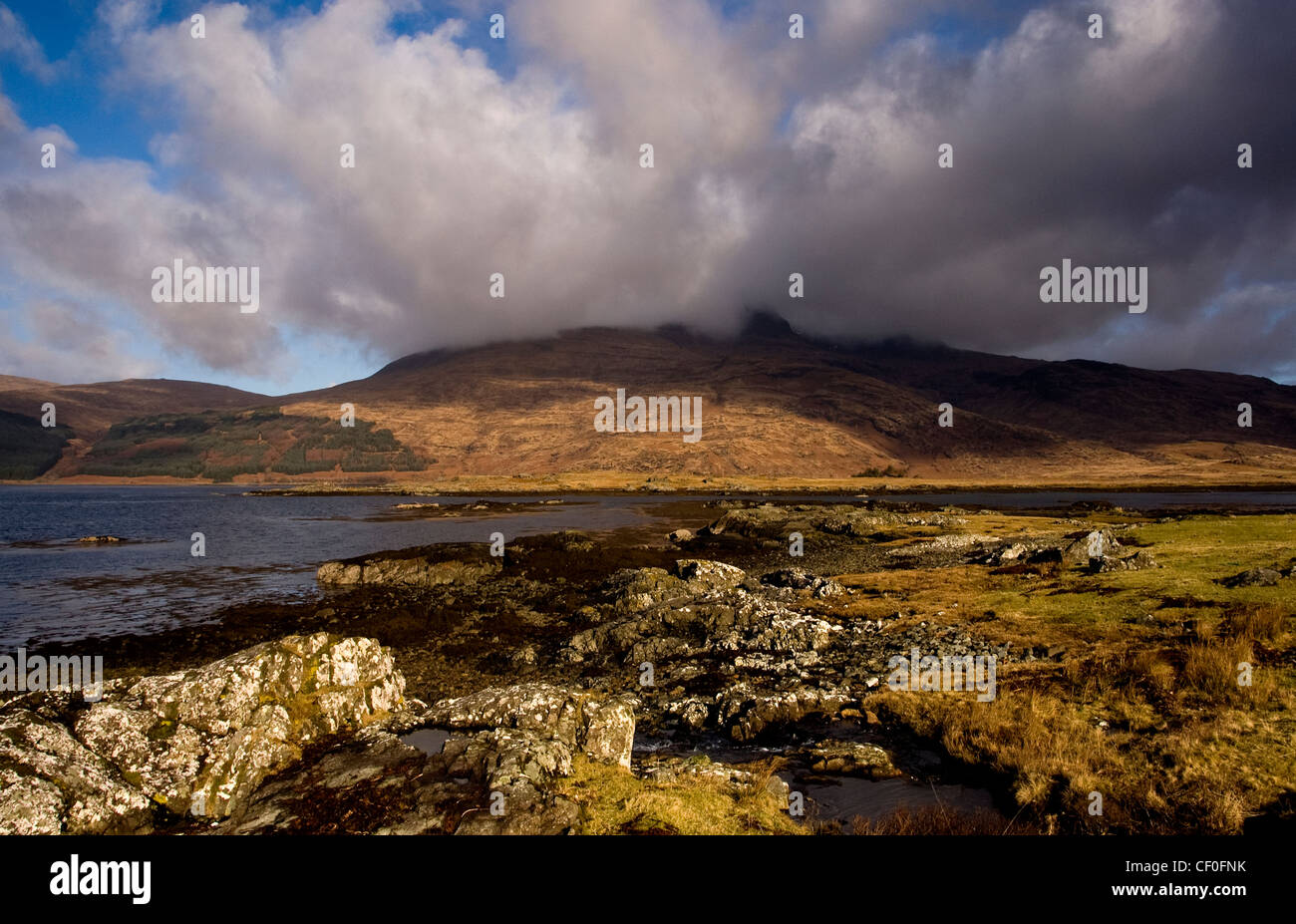 a landscape of loch scridain isle of mull off the west coast of scotland - Stock Image