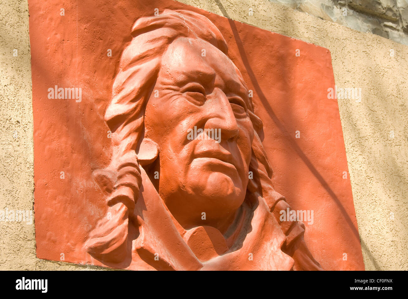 First Nations plaque in Banff, Alberta, Canada - Stock Image