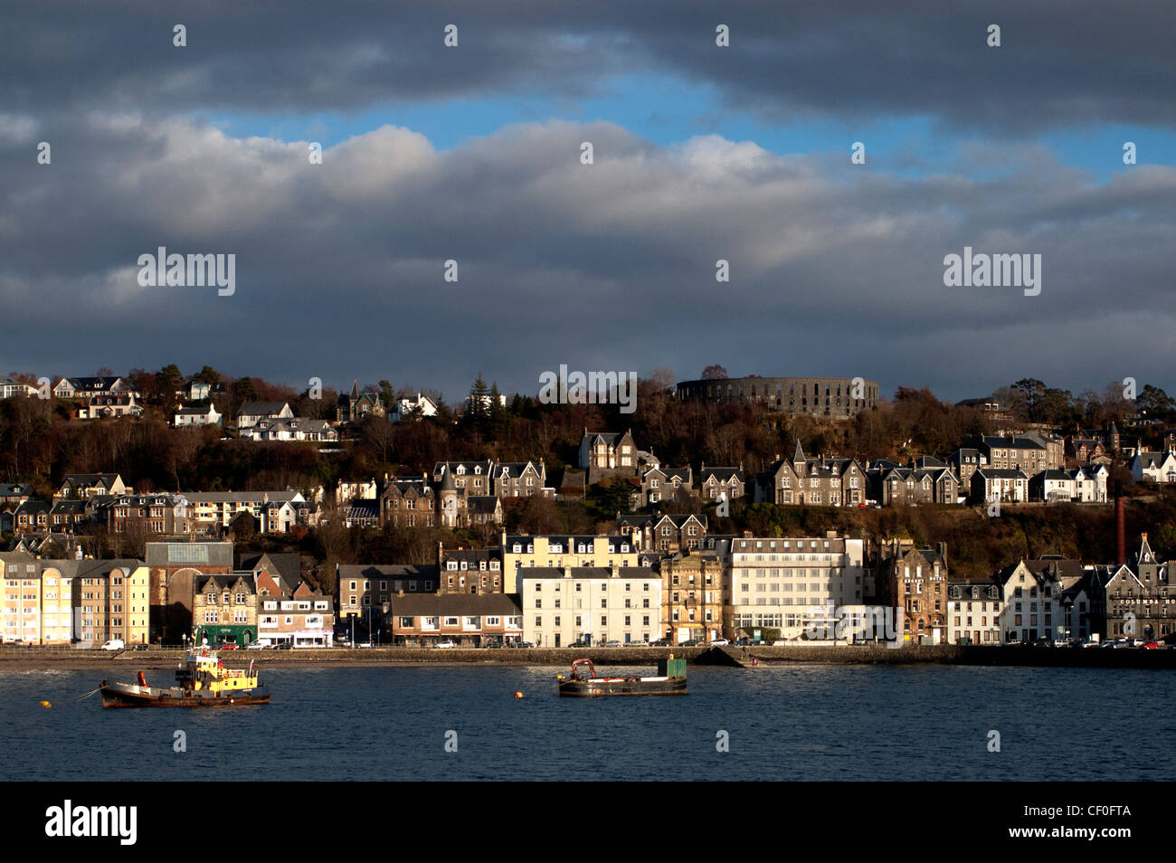 a picture of oban in nice evening light on the west coast of scotland - Stock Image