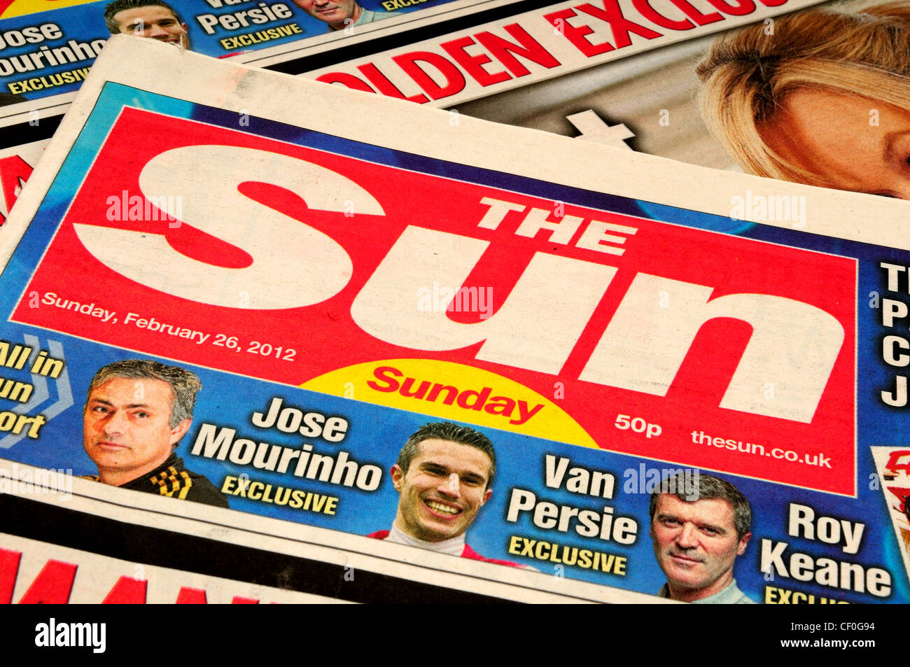 The Sun on Sunday ,First Edition of News Internationals Paper.26.02.2012. - Stock Image