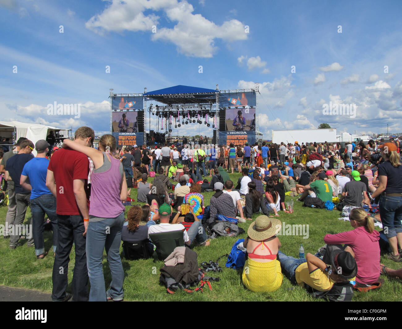 A crowd gathers at the Sasquatch Music Festival, in Washington State USA - Stock Image