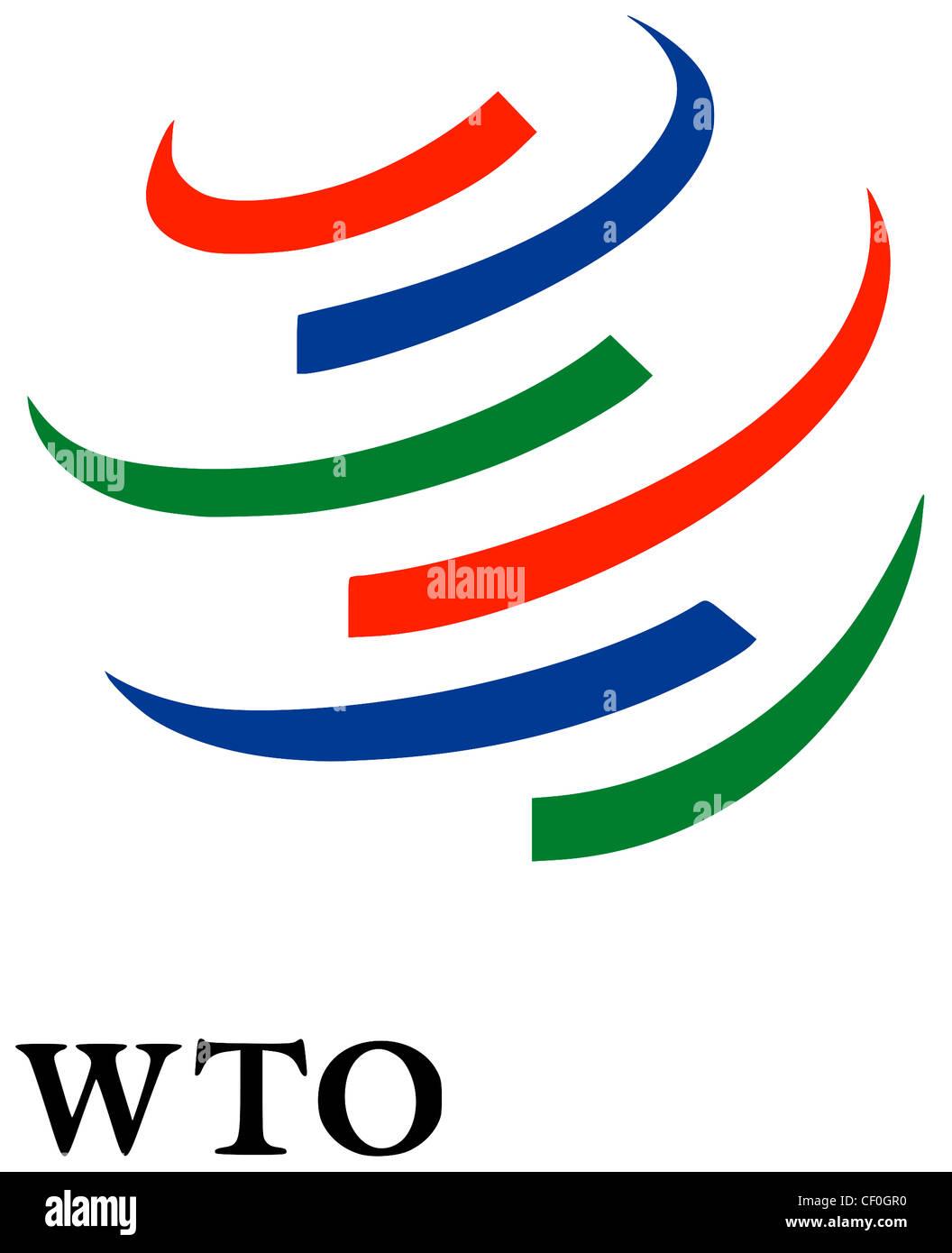 Logo of the World Trade Organization WTO based in Geneva. - Stock Image