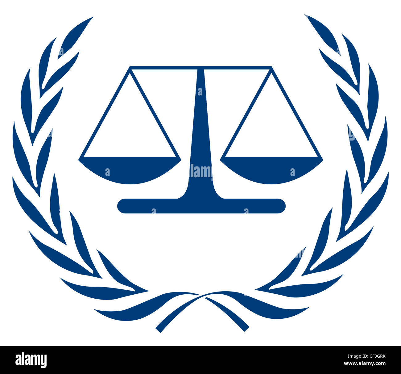 Logo of the International Criminal Court ICC with seat in The Hague. - Stock Image