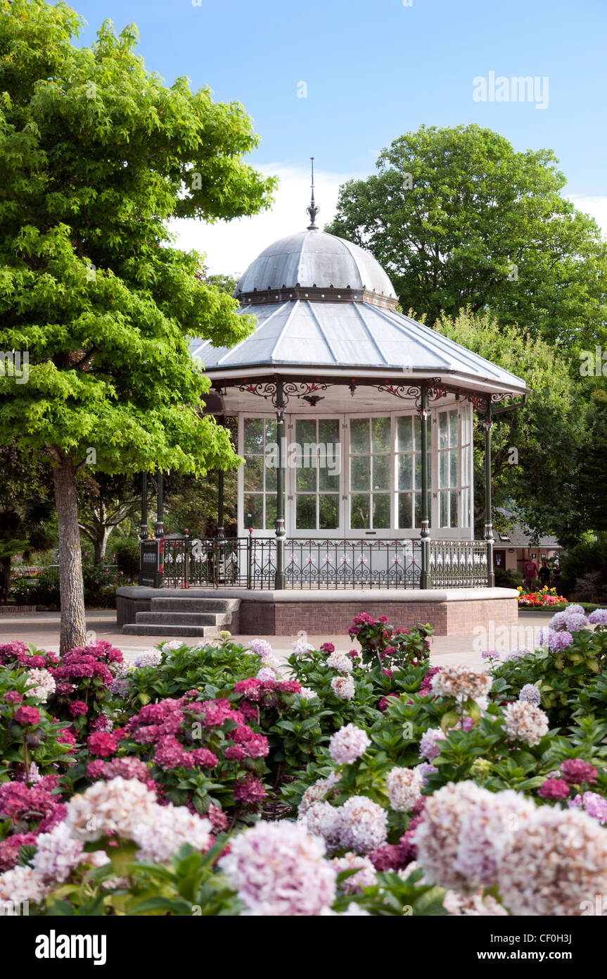 View of the Bandstand in the Royal Avenue Gardens, Dartmouth, Devon, England. - Stock Image