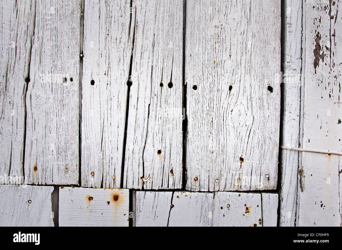 White painted wood planks - Stock Image