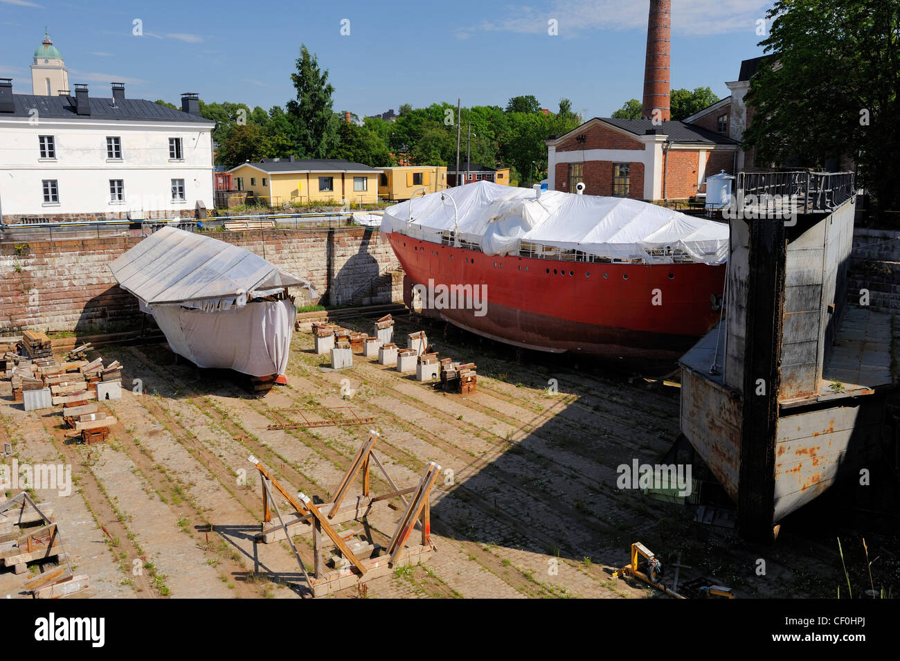 Ships are repaired in the large dry-dock. The dry-dock is unique in the world and the pride of Suomenlinna. The - Stock Image