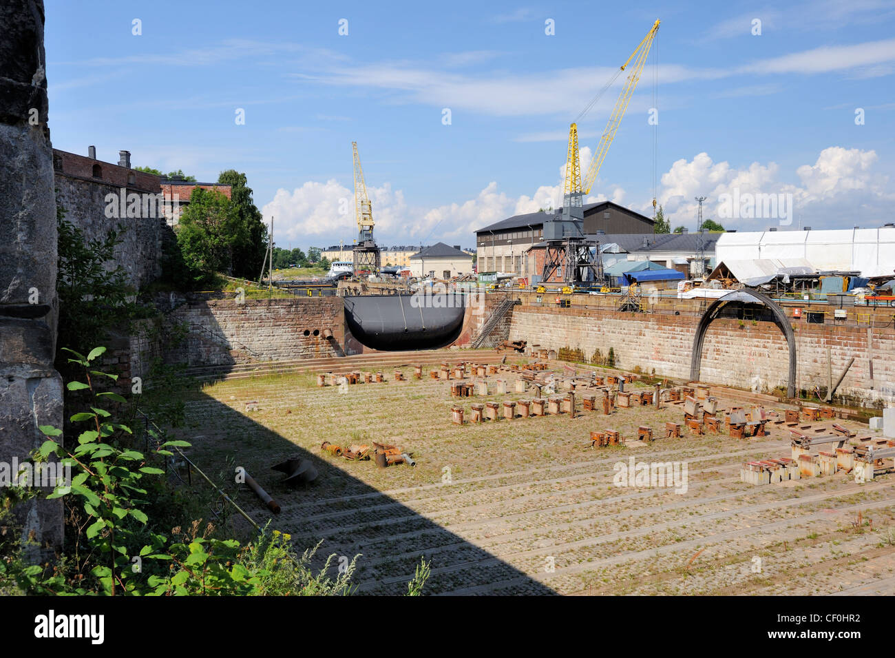 The large dry-dock is still used for repair and winter storage of old ships. The dry-dock is unique in the world - Stock Image