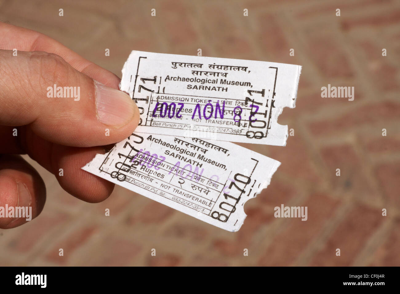 Archaeological Museum admission tickets, Sarnath, India - Stock Image