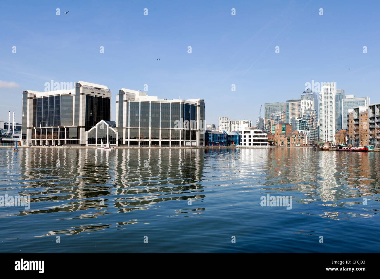 Millwall Outer Dock, Isle of Dogs, Tower Hamlets, London, UK. - Stock Image