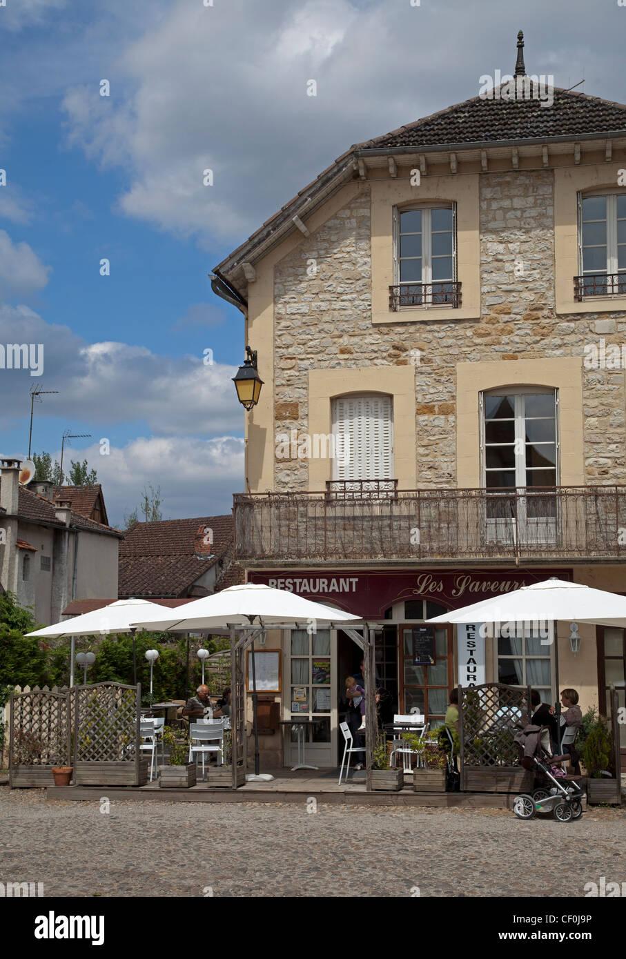 Restaurant Les Saveurs at Bretenoux Stock Photo