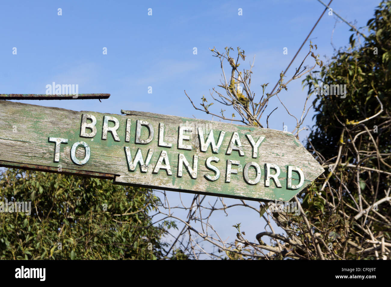 Bridleway to Wansford sign, Northamptonshire, England. - Stock Image