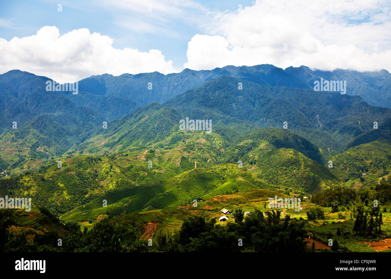 Hoang Lien Son mountain range in Sapa, Vietnam - Stock Image