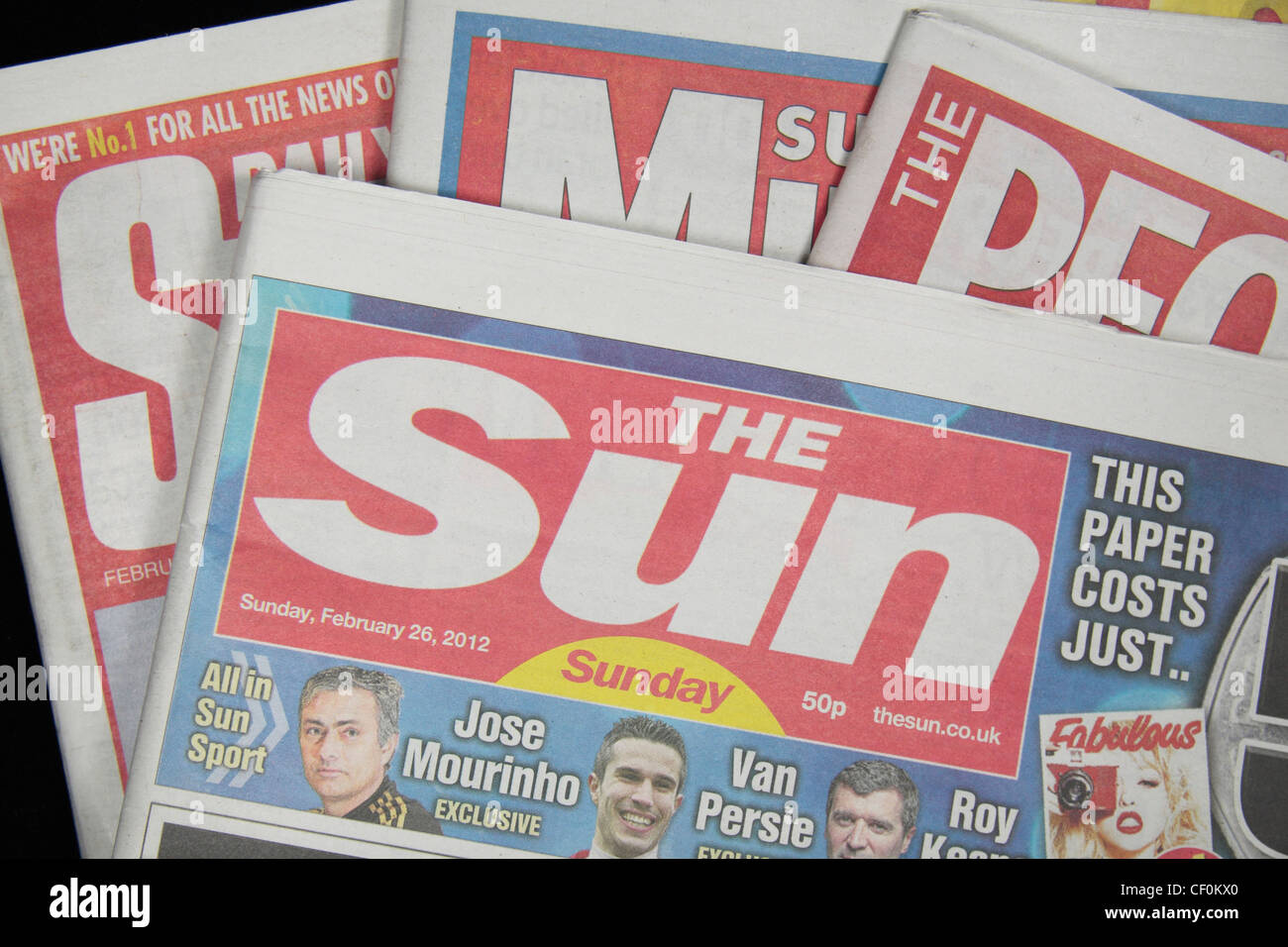 """The """"Sun on Sunday"""" tabloid British Sunday newspaper, launched on 26th February 2012 on other UK red top Sunday Stock Photo"""