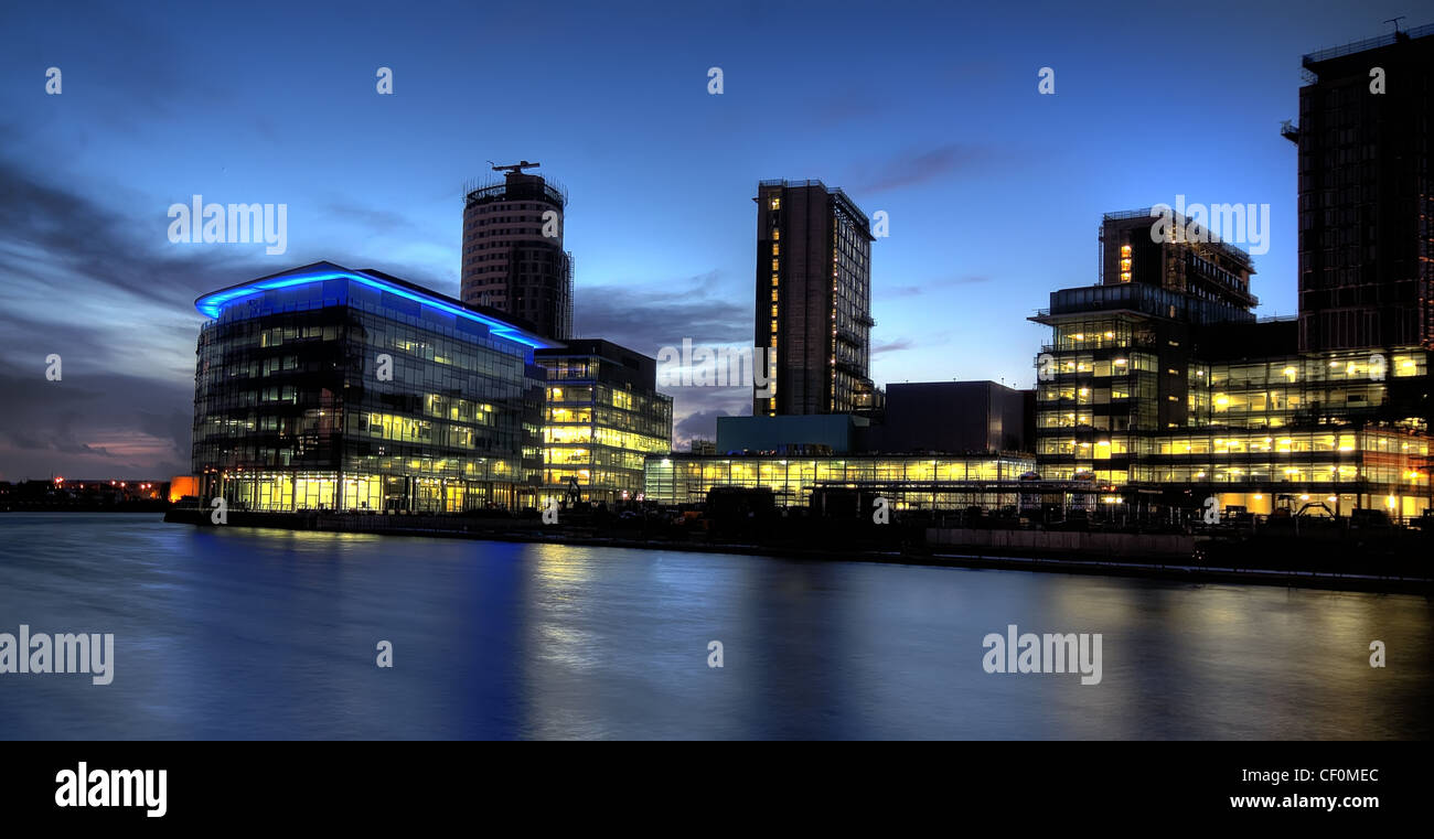 Dusk at Media City UK in Salford, Manchester, England UK - Stock Image