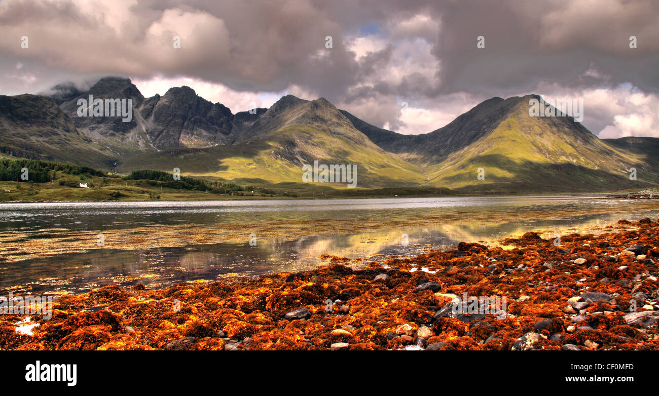Skye Torrin Panorama Great Scenery Vista from Skyes South. Dramatic Mountains across a sea loch lined with brown Stock Photo