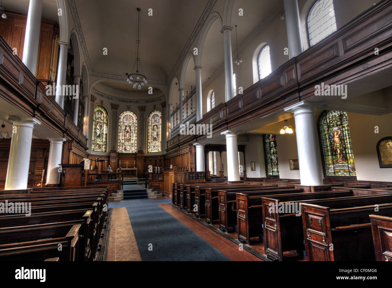 St Anns Church Manchester view down aisle - Stock Image