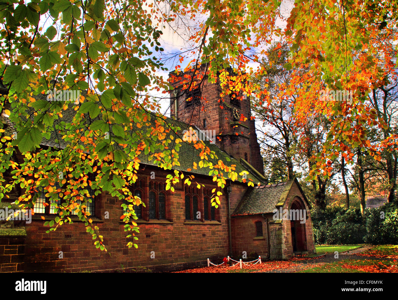 St John the Evangelist's Church, Sandiway in Autumn - Stock Image