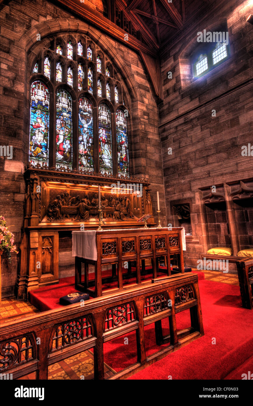 St Wilfrids Church Interior and altar, Grappenhall Village South Warrington Cheshire WA4, England United Kingdom - Stock Image