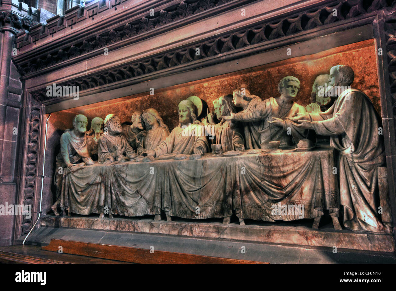 St Wilfrids, Davenham Last Supper Frieze in stone - Stock Image