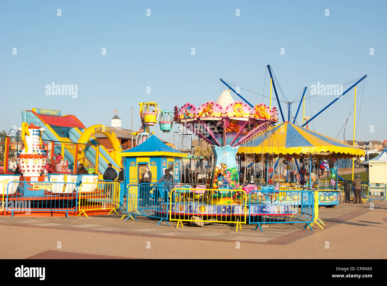 Funfair rides at Barry Island, South Wales, UK, location of filming popular tv series Gavin & Stacey Stock Photo