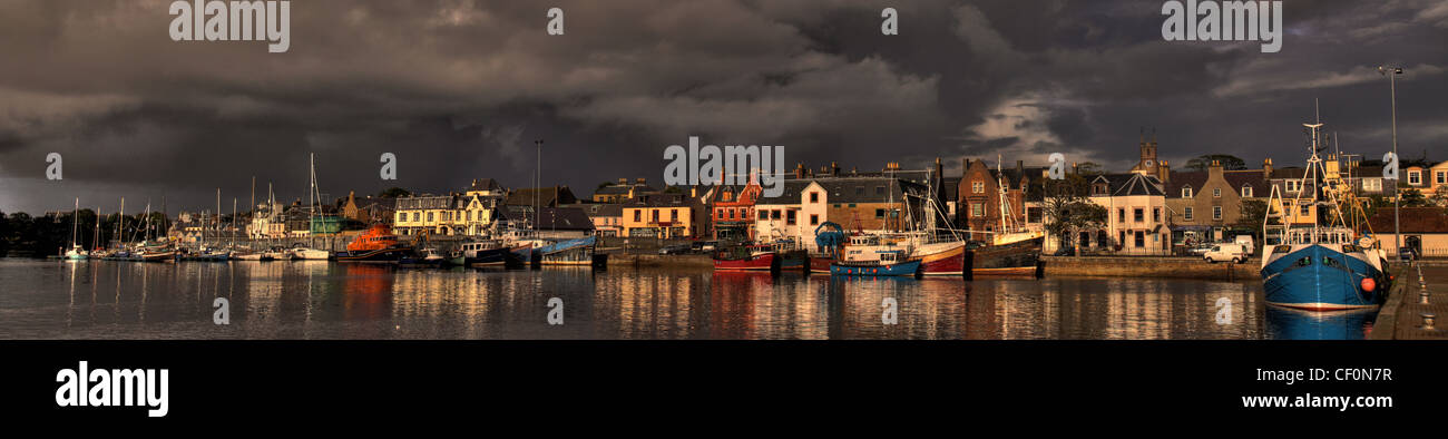 Panorama of Stornoway harbour, Isle of Lewis, Western Isles of Scotland, United Kingdom - Stock Image