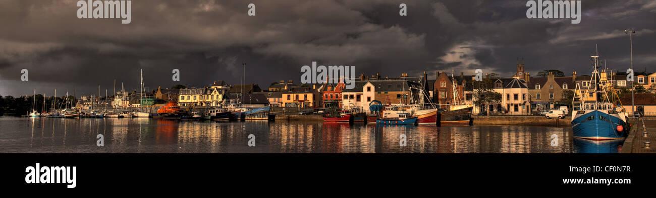 Panorama of Stornoway harbour, Isle of Lewis, Western Isles of Scotland, United Kingdom Stock Photo