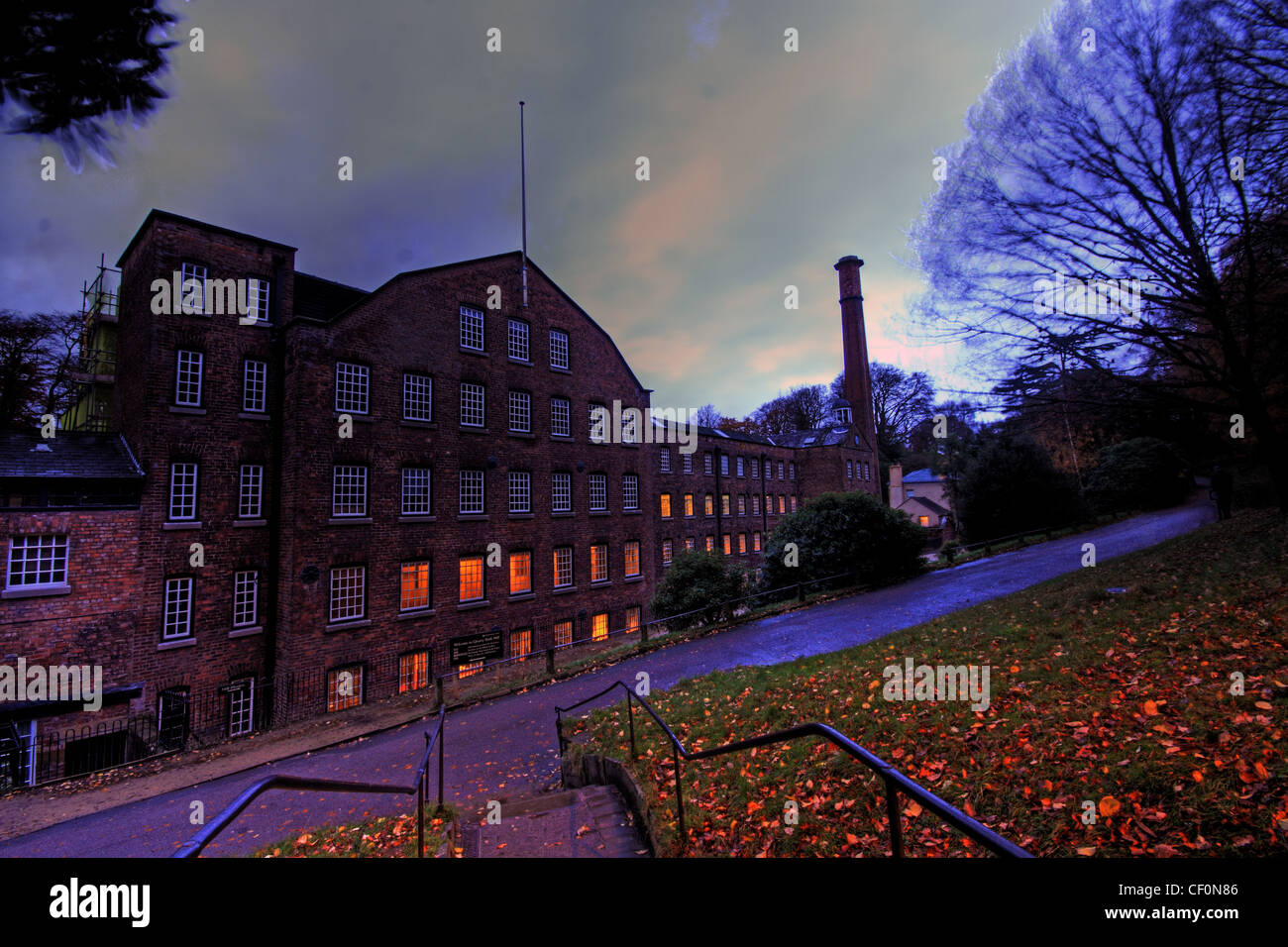 Styal Cotton Mill NT ( National Trust ) near Manchester Airport, Lancashire / Cheshire at dusk. - Stock Image