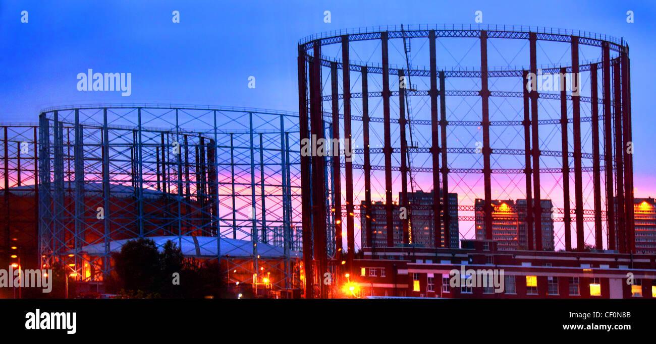 Gasholders at Aston, Birmingham, West Midlands, United Kingdom at Dusk Stock Photo