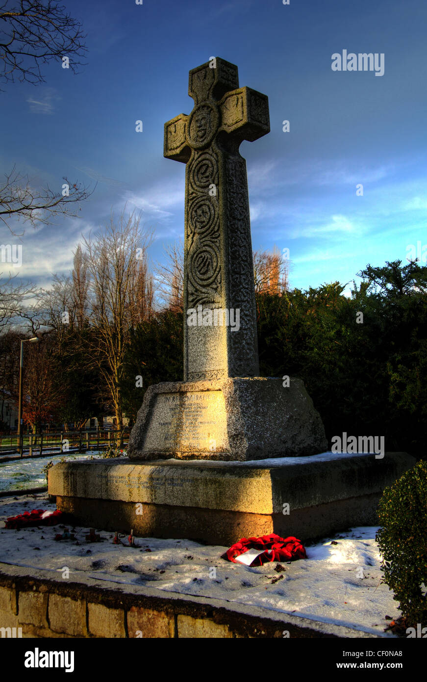 The cenotaph War Memorial, Bell lane, Thelwall, Warrington, Cheshire, England , GB - Stock Image