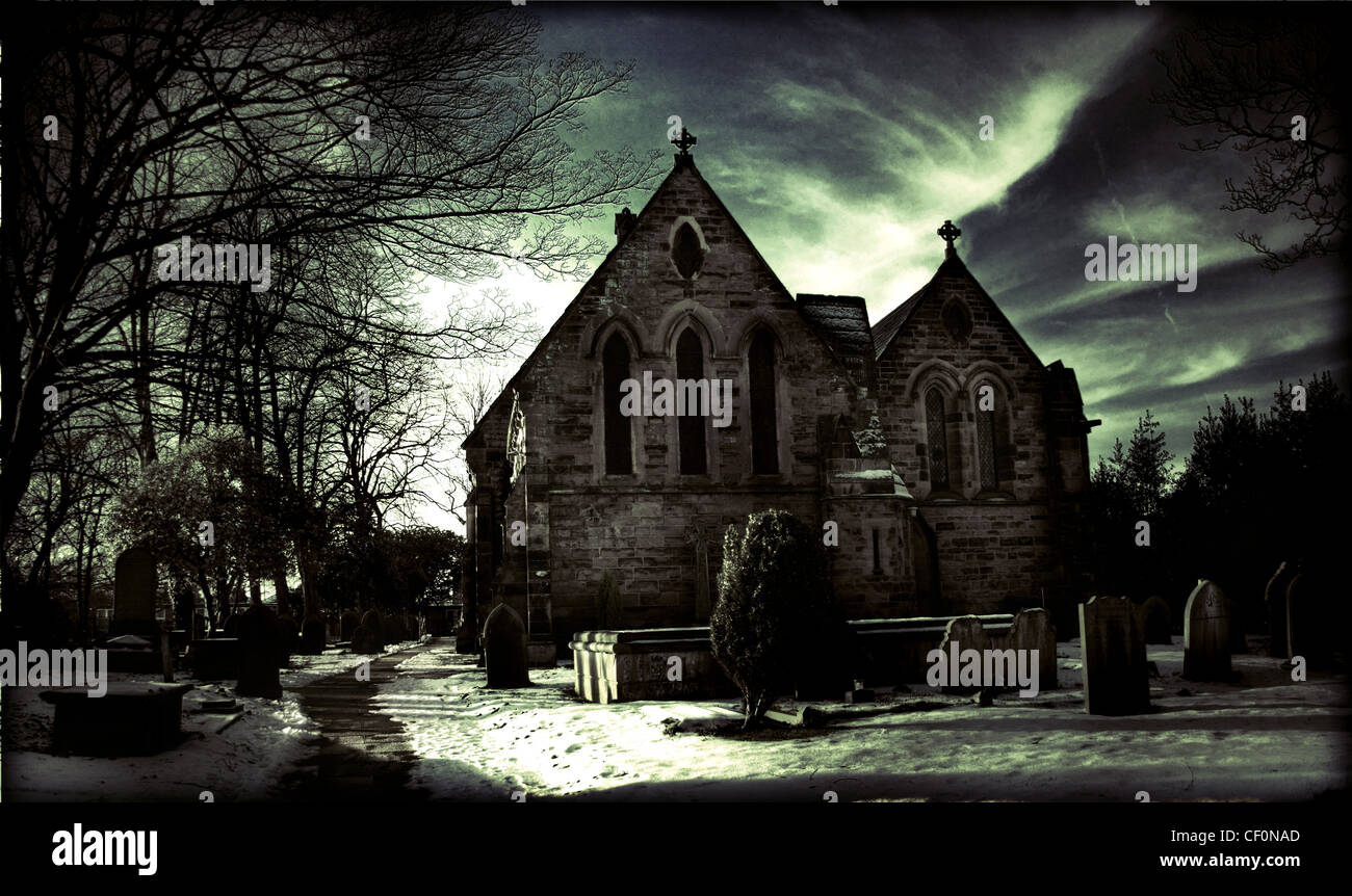 All Saints Church in winter, Thelwall, South Warrington, Cheshire, England, Great Britain - Stock Image