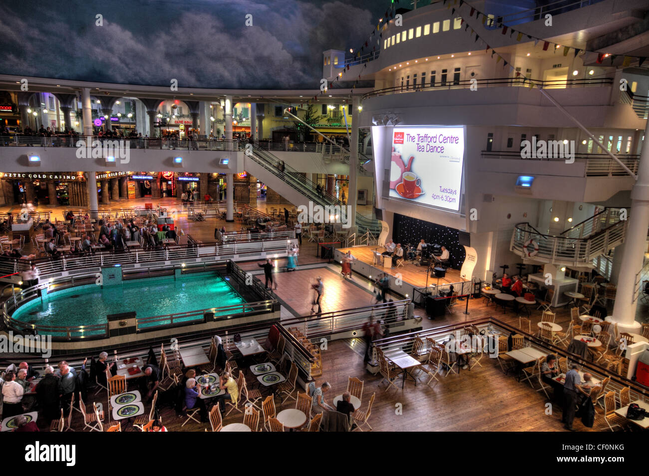 Tuesday afternoon tea dance at the food court, Trafford Centre, Dumplington, Trafford Park, Manchester, Lancashire, - Stock Image