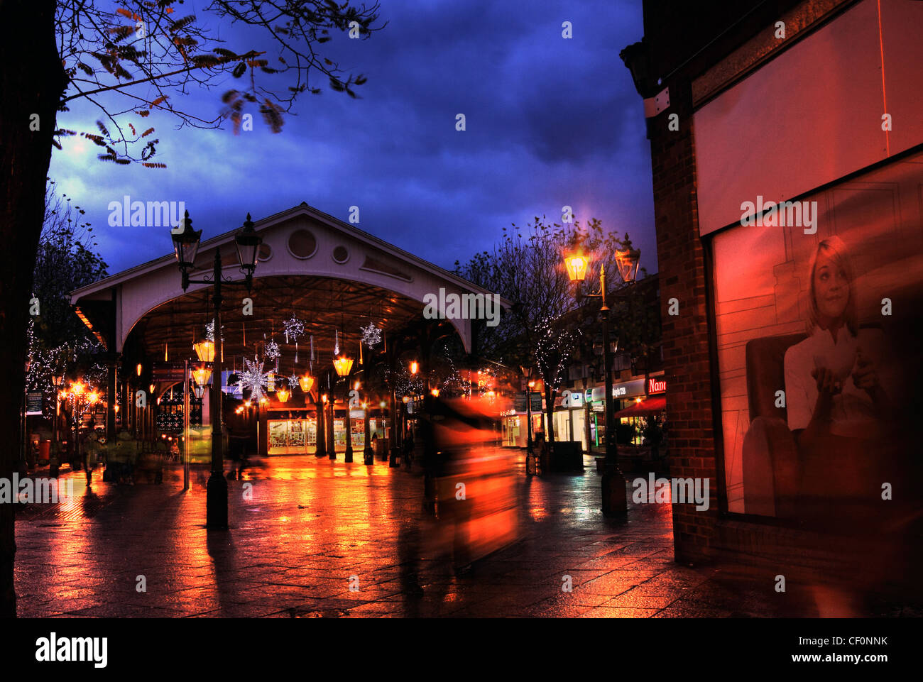 Dusk at Old Fish Market, Golden Square Marketplace, Warrington, Cheshire , UK - Stock Image