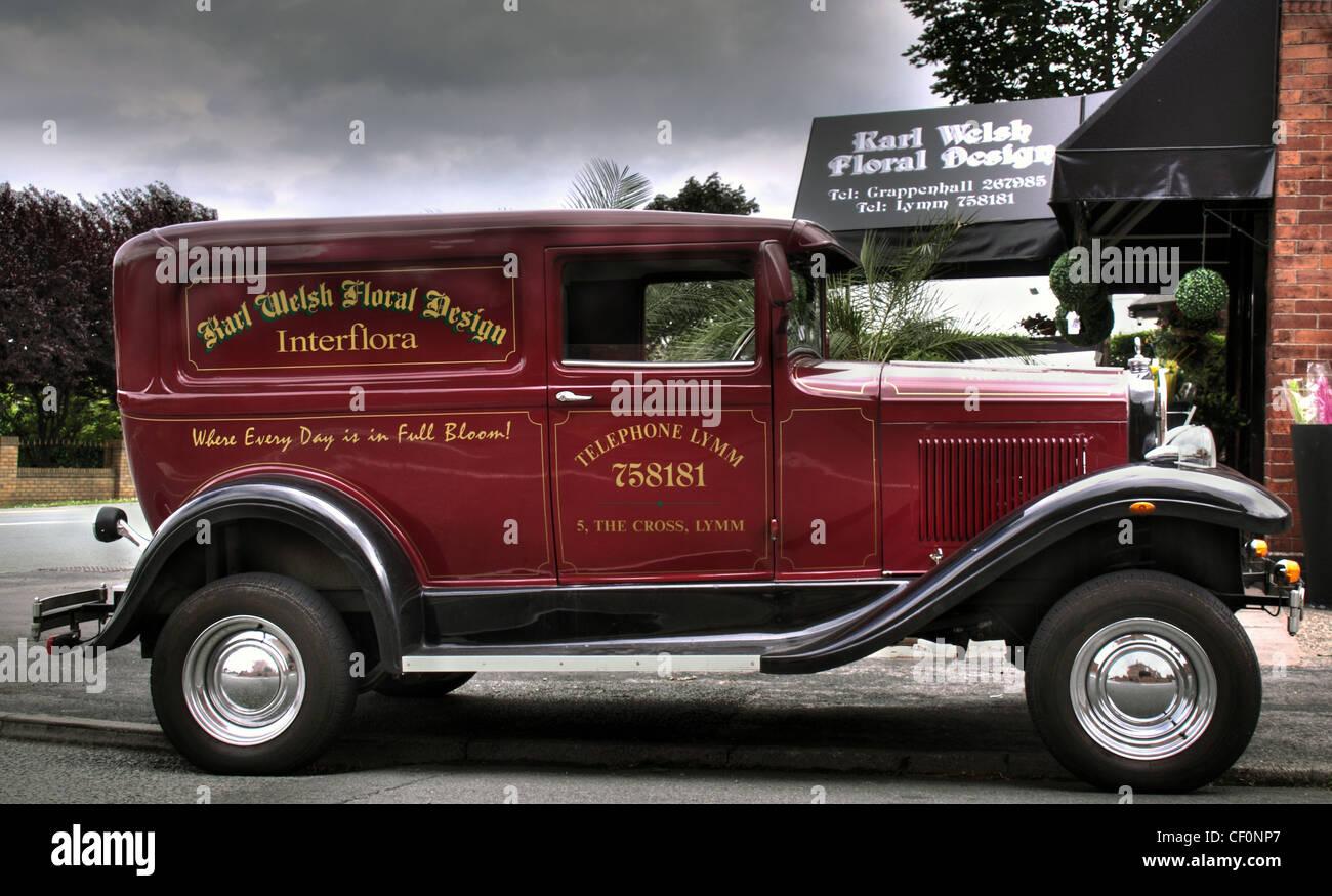 Vintage style van at Karl Welsh flower shop, Knutsford Road, Grappenhall, Warrington UK WA4 Stock Photo