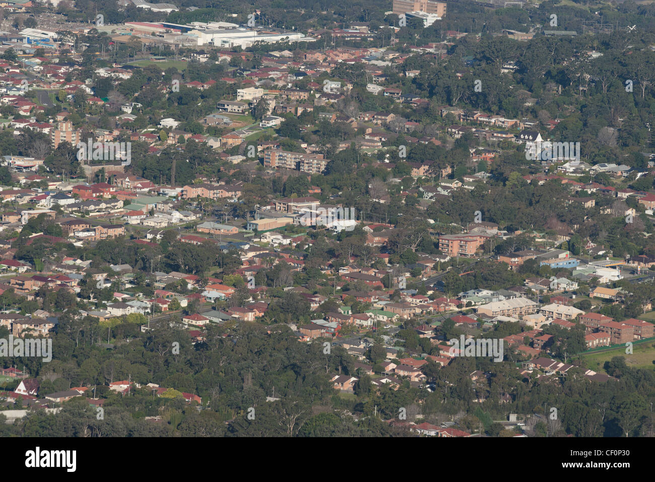 looking down onto wollongong city and suburbs - Stock Image