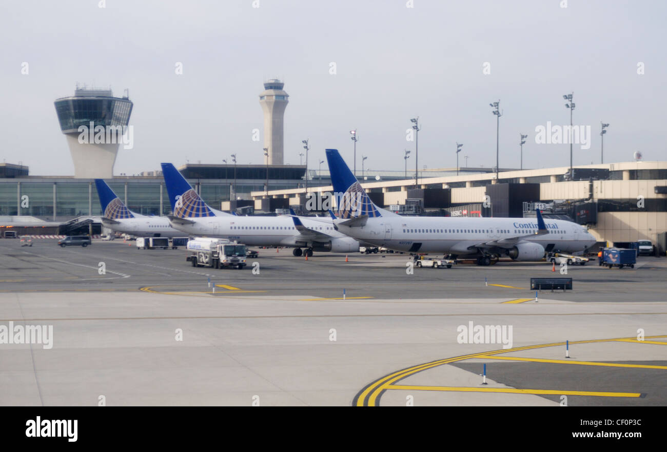Commercial airliners at the terminal at Newark Liberty International Airport, Newark, NJ - Stock Image